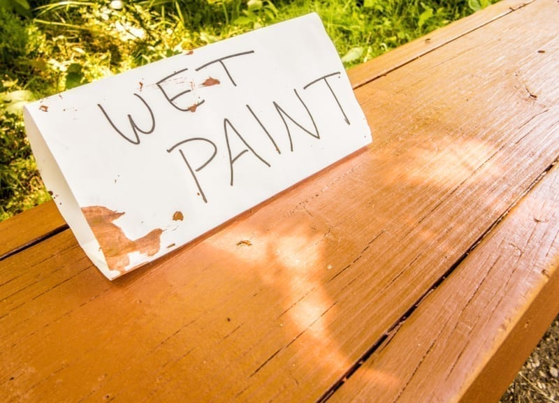 interior painting project - wet paint