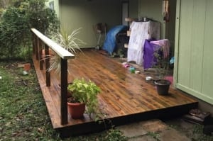 Small stained deck