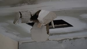 Water damaged ceiling caused by a leaking roof