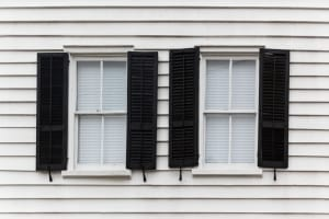 Black window shutters