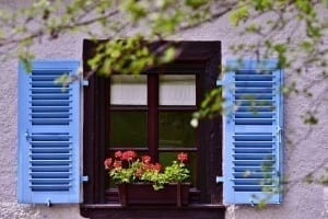 Bright blue window shutters