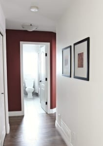 painting an accent wall in a hallway