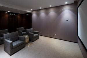 home theater with accent wall