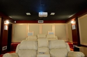home theater with black ceiling