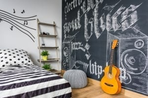 teenage bedroom with chalkboard wall