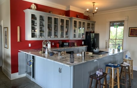 Red and gray kitchen cabinet