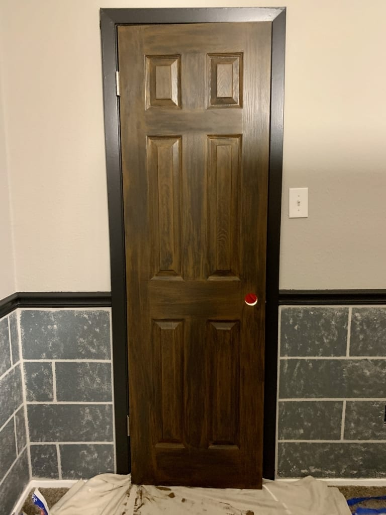 Hogwarts faux painted wood door