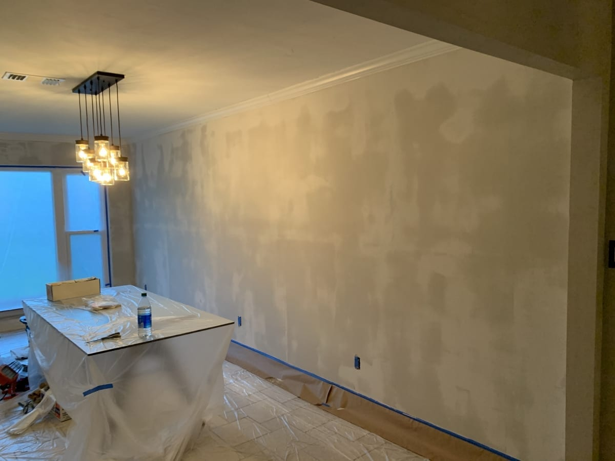 dining room wall retexture right - during