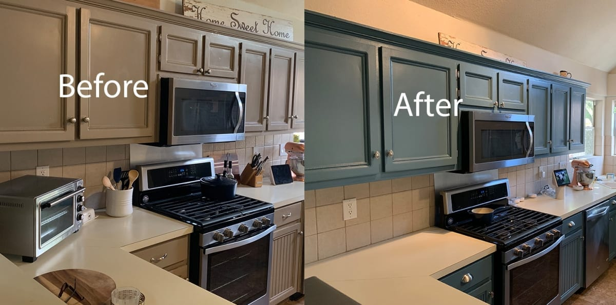 ktichen cabinet repaint - before and after