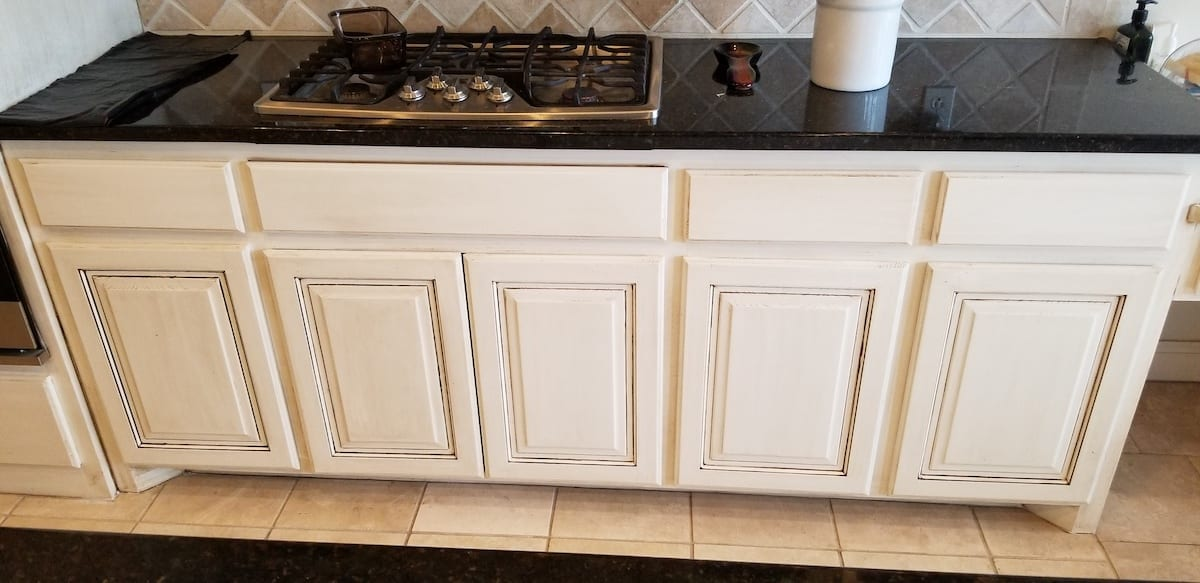 5 kitchen cabinets faux island