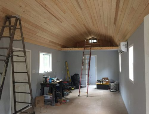 Wood Plank Ceiling in Cabin