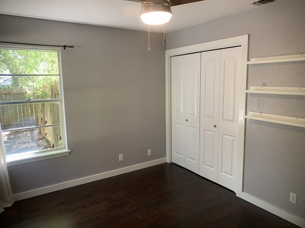 bedroom with gray paint color