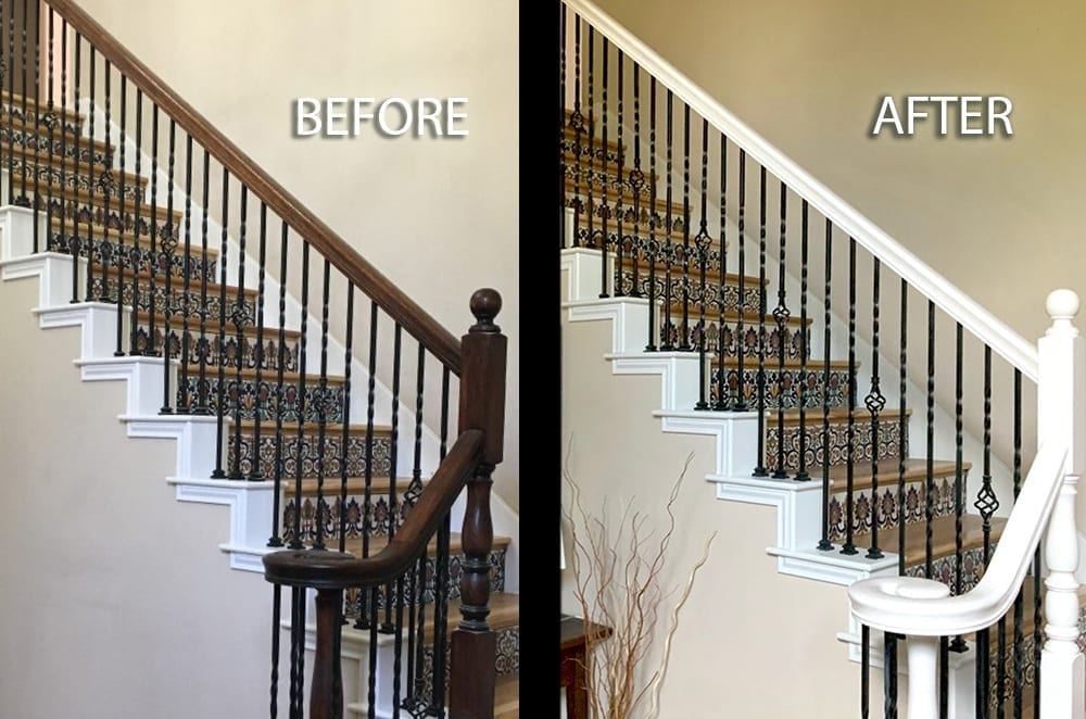 Interior Stair Handrail Painting before and after