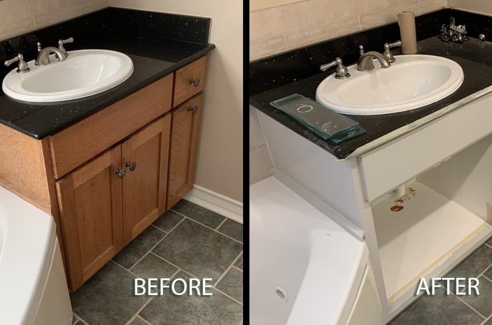 bath cabinet before and after painting white