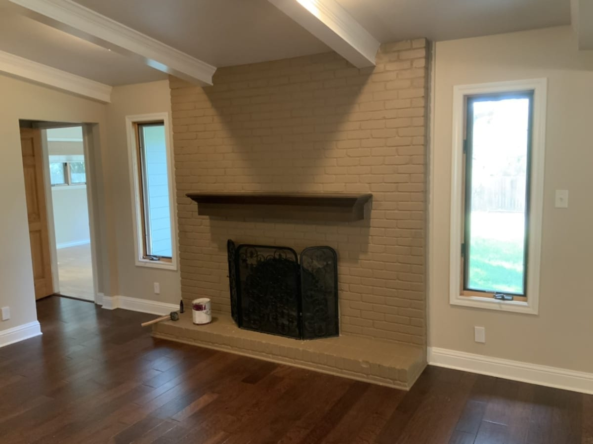 brick fireplace - before painting