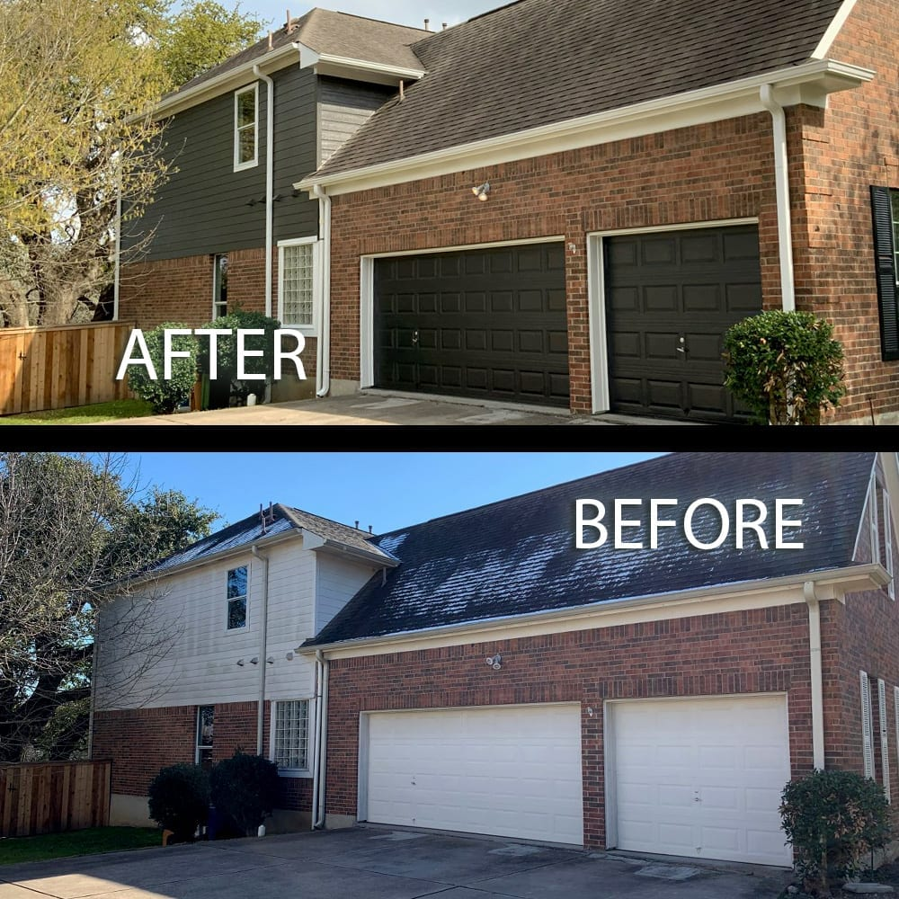 brick home exterior repaint garage doors before and after