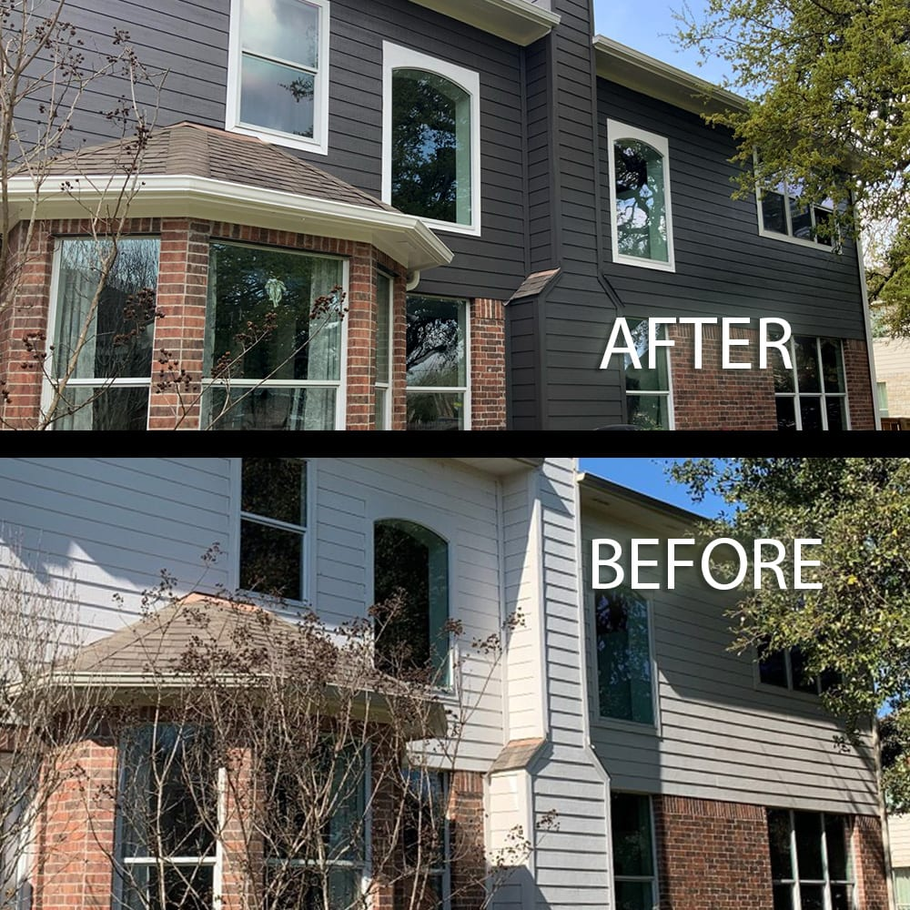 bronze paint color for red brick house before and after