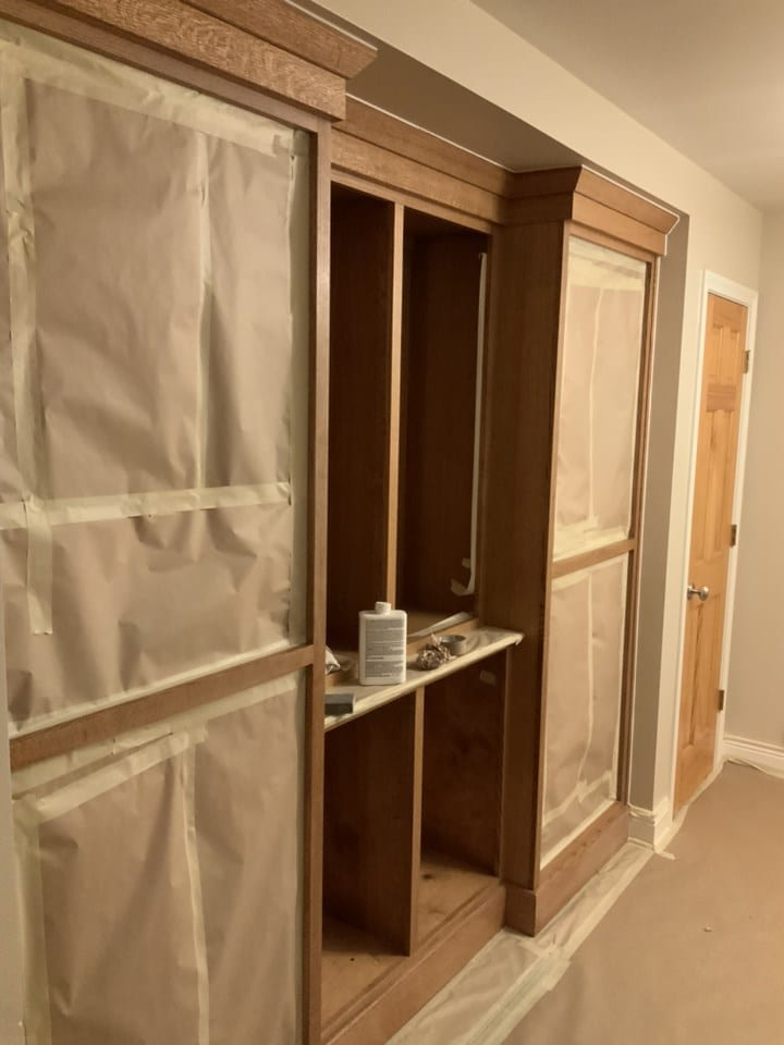 built-ins masked for painting