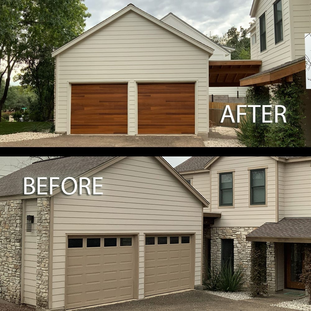 garage door replace and stain before and after