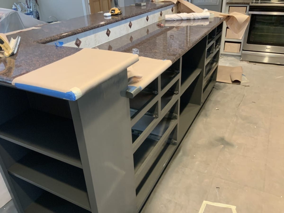 gray kitchen painted island - oil based paint