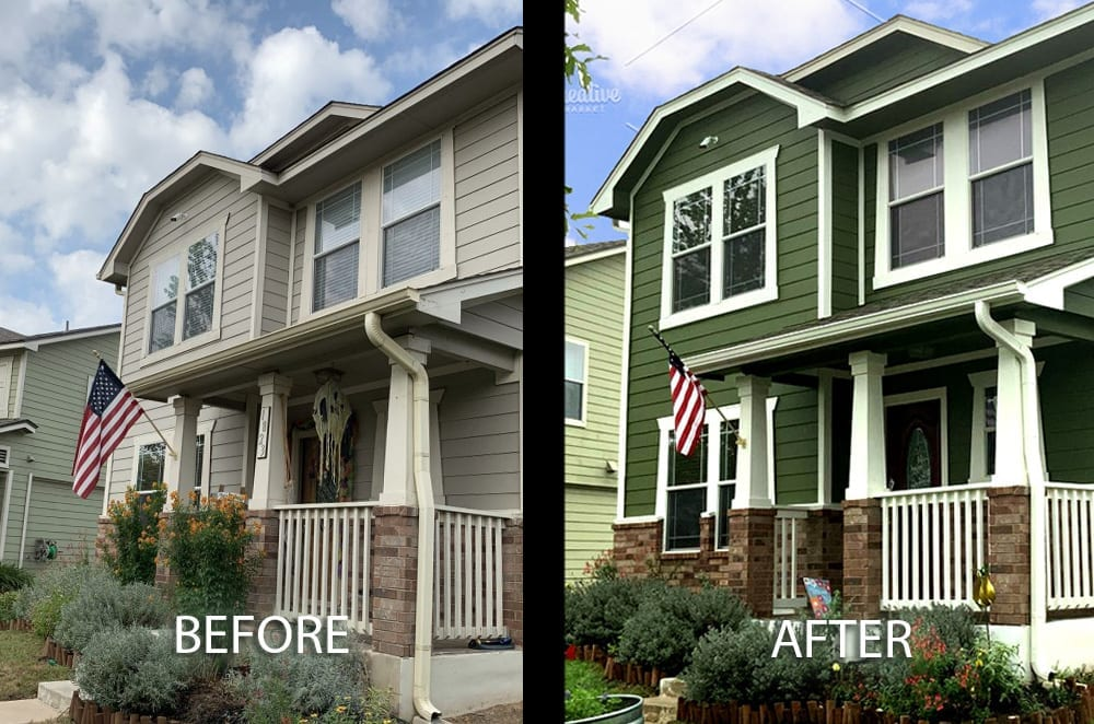 green exterior paint color before and afterjpg