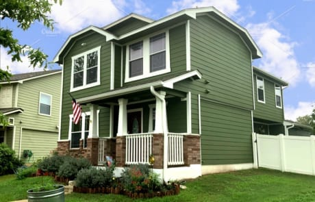 green exterior paint porch corner finished