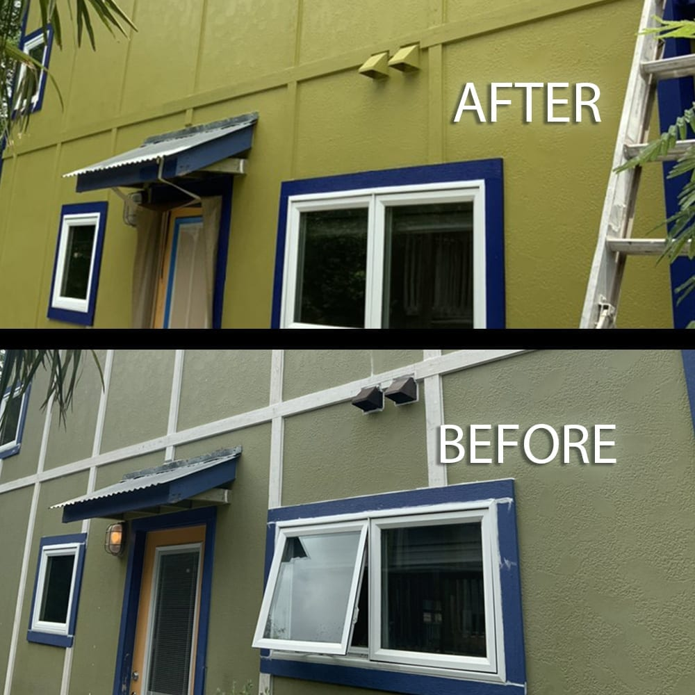 green house with blue trim before and after exterior painting