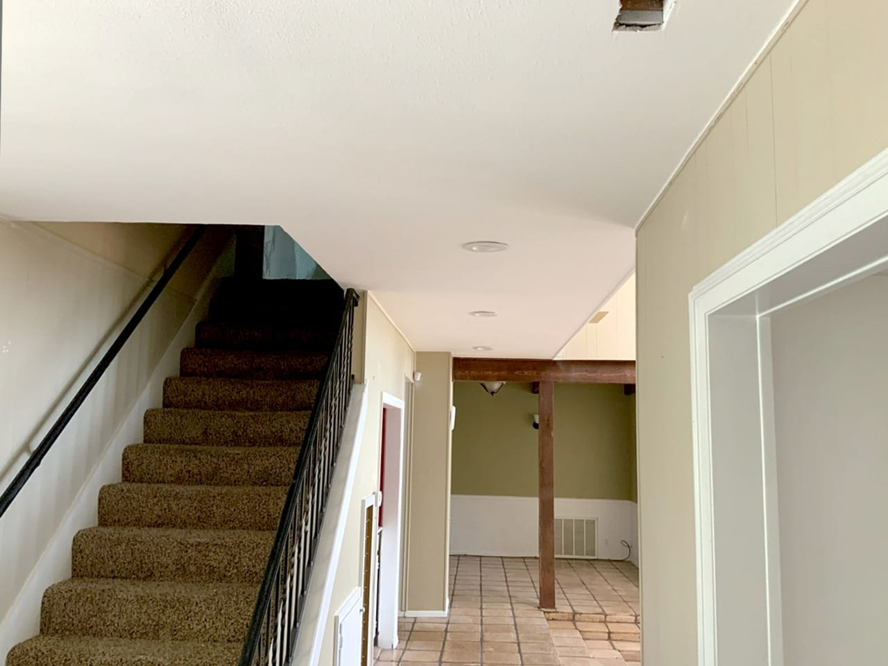hallway and staircase after popcorn removal
