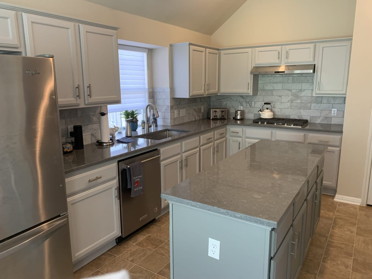 kitchen cabinet painting - gray cabinets