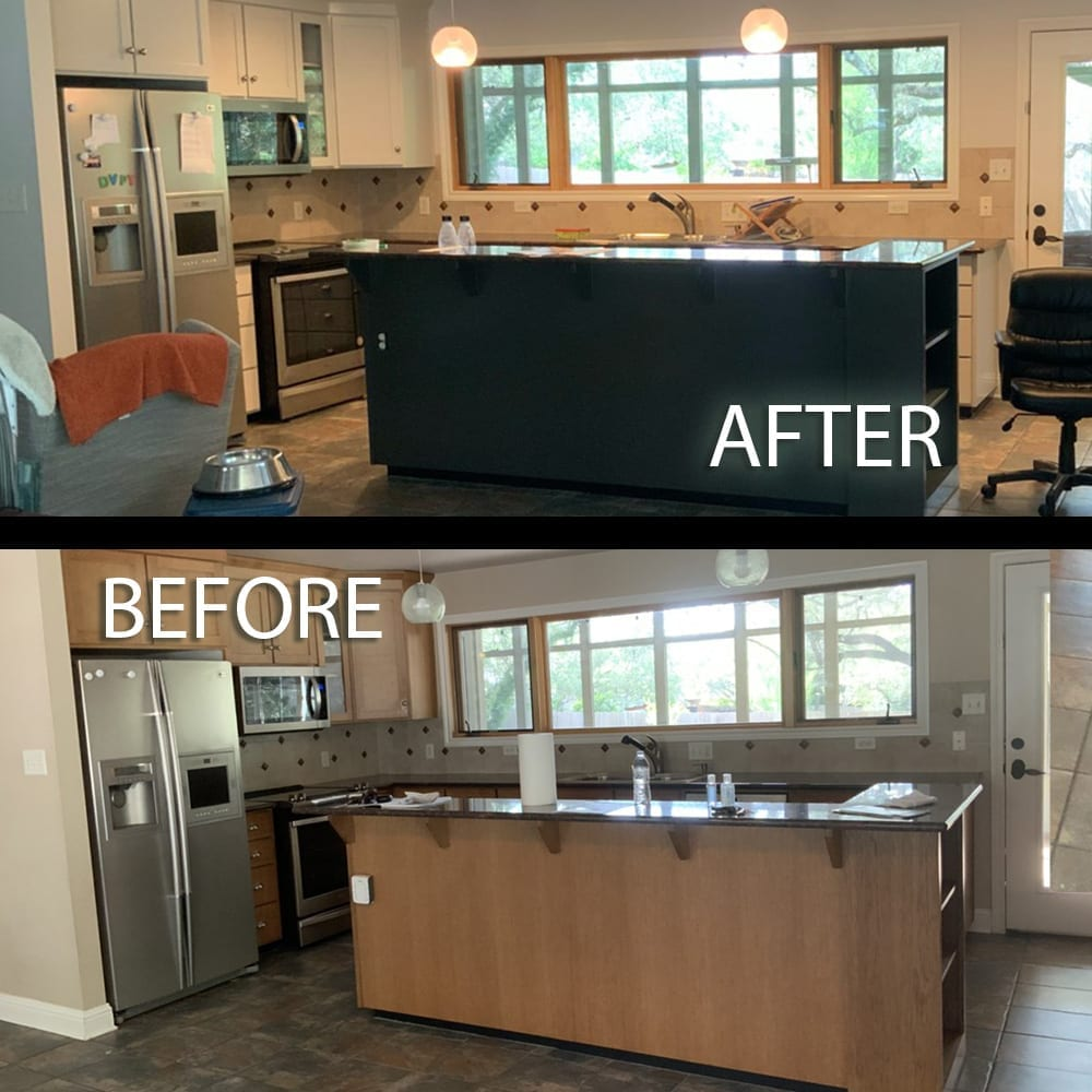 painted kitchen cabinet with island before and after