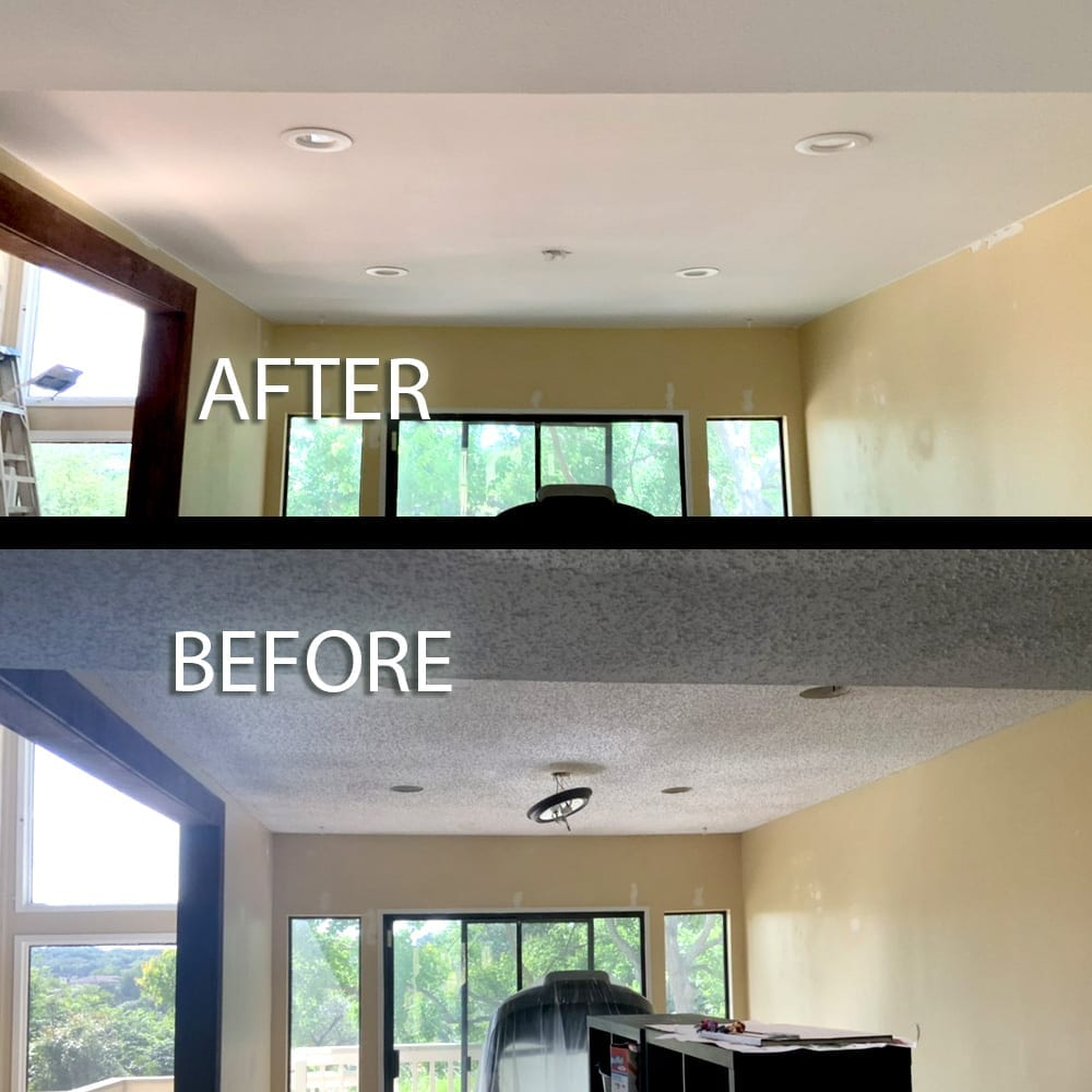 popcorn ceiling new texture before and after