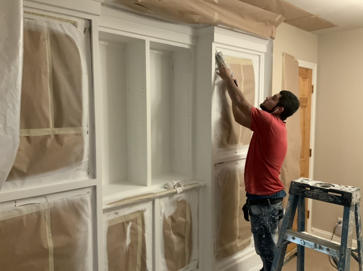 prepping and masking cabinets for painting