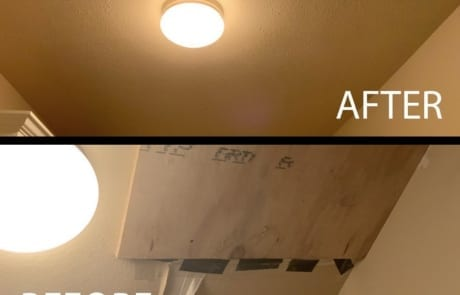 sheetrock ceiling repair before and after