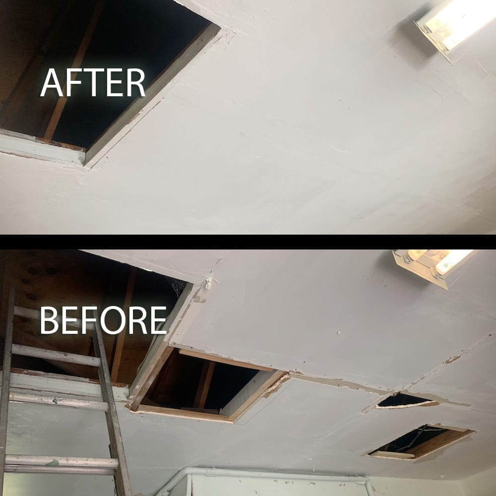 sheetrock patch on garage ceiling before and after