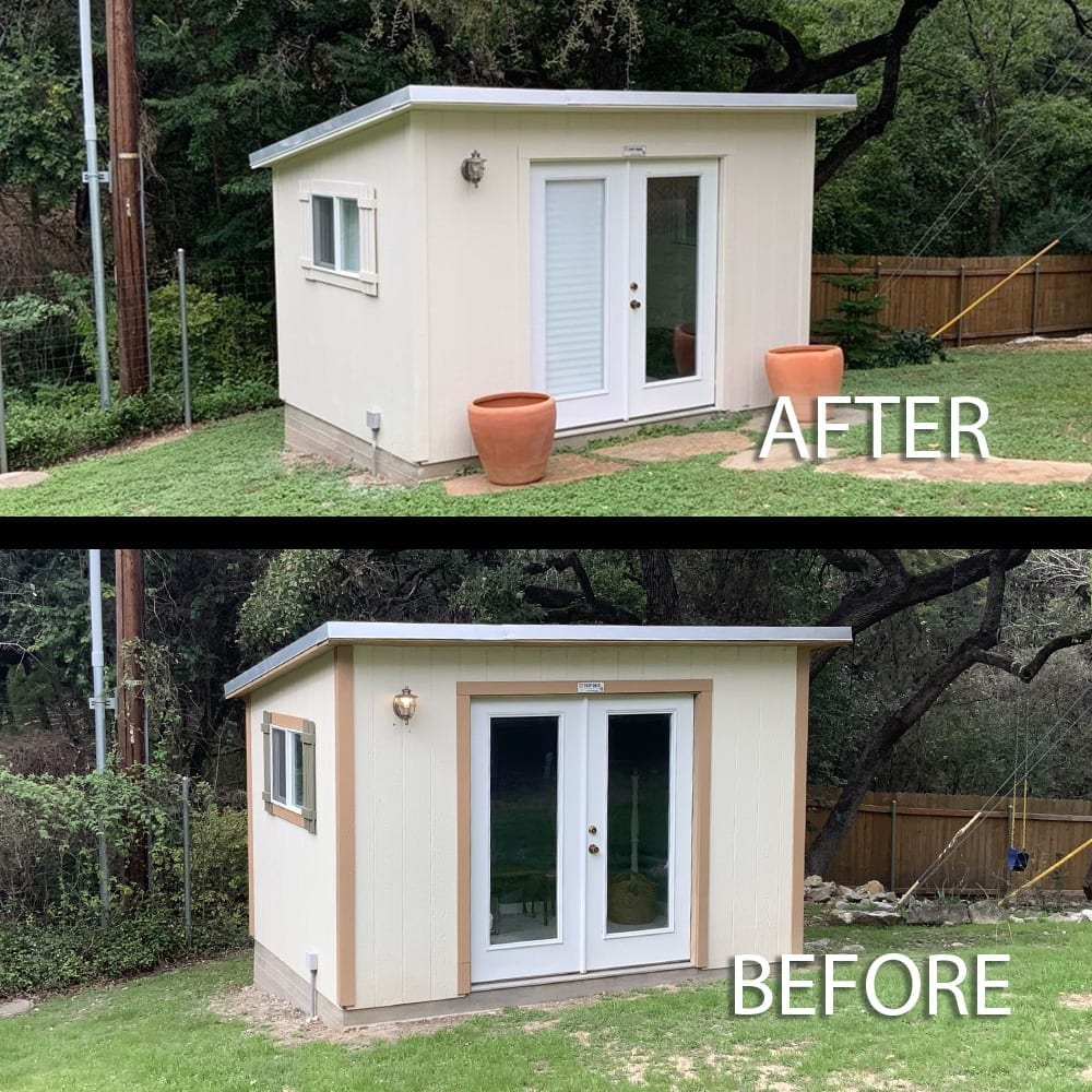 storage building super paint exterior before and after