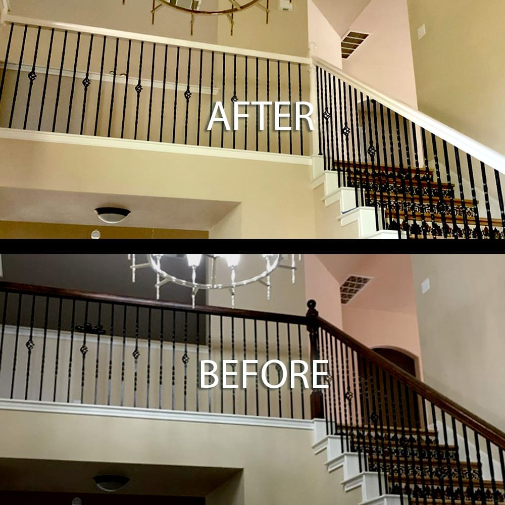 white painted stair handrail before and after