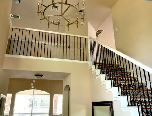 White Interior Stair Handrail Painting