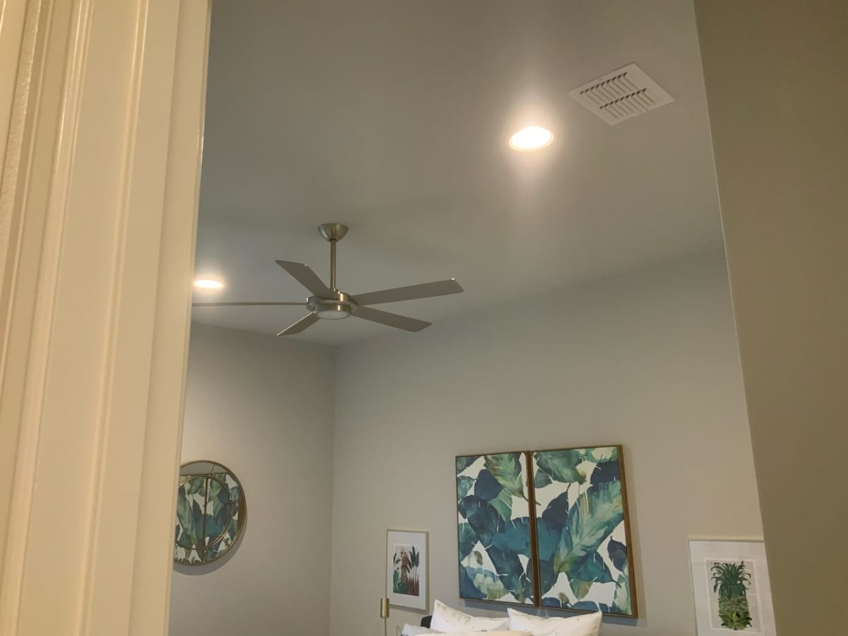 bedroom with new ceiling texture
