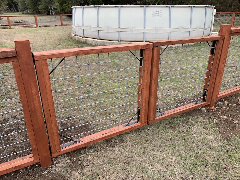 dual fence gate stained
