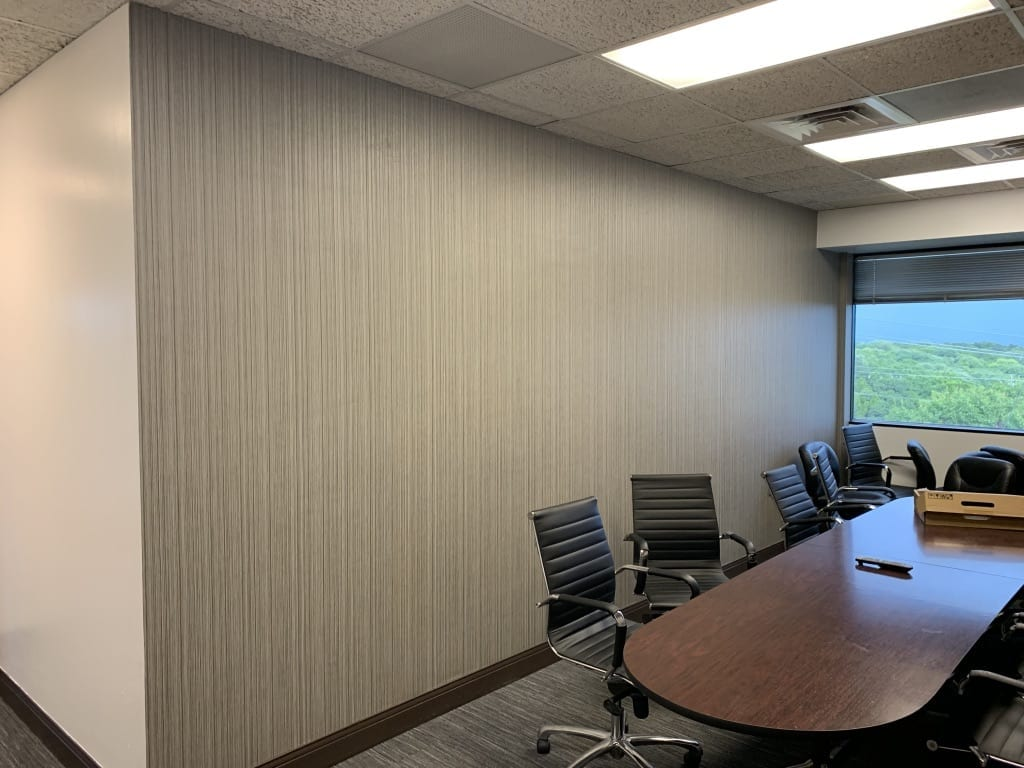 new wallpapered office conference room