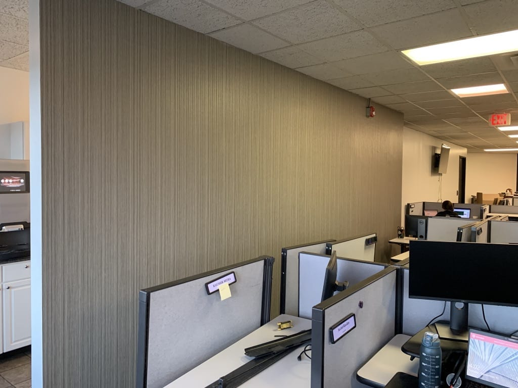 new wallpapered office walls