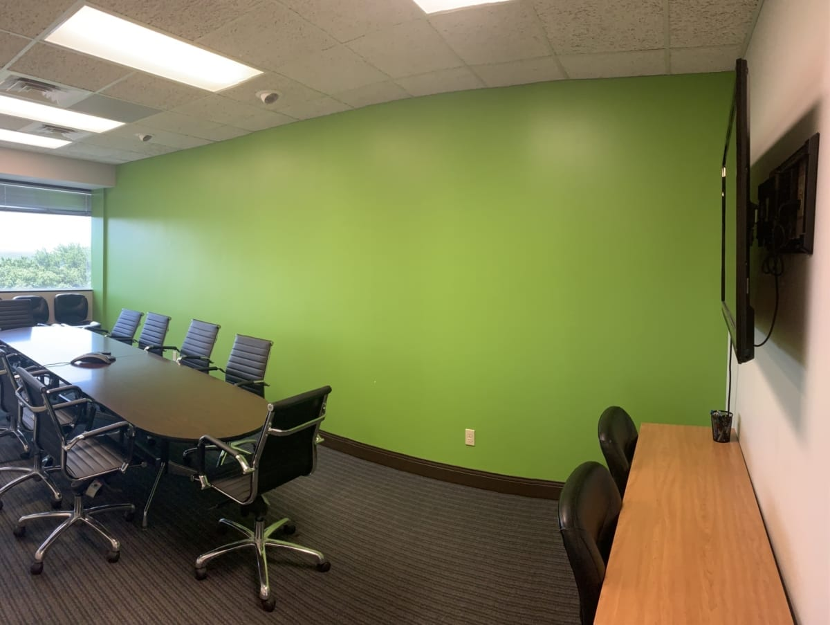 office conference room green walls