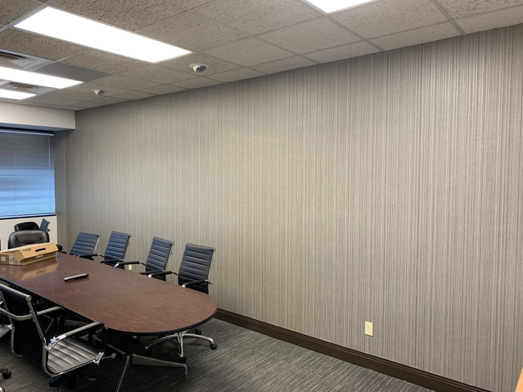 office conference room with wallpaper