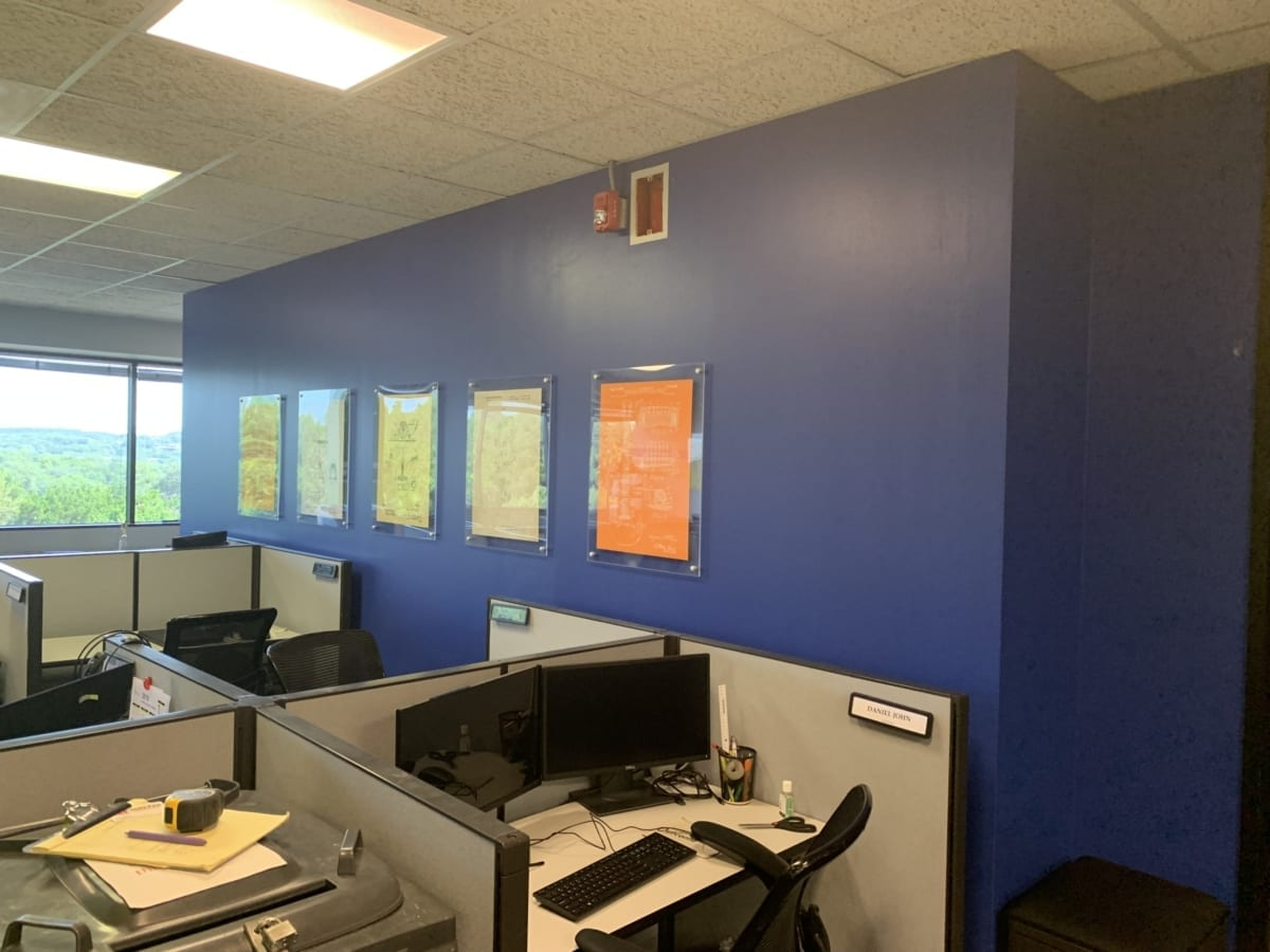 office with blue walls