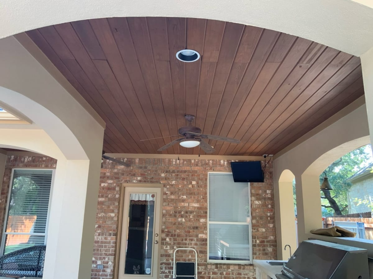 stained exterior kitchen ceiling