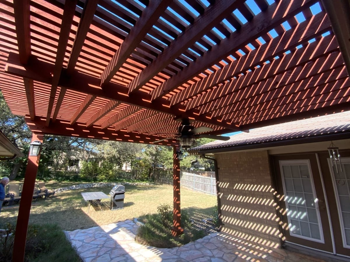 stained pergola patio cover