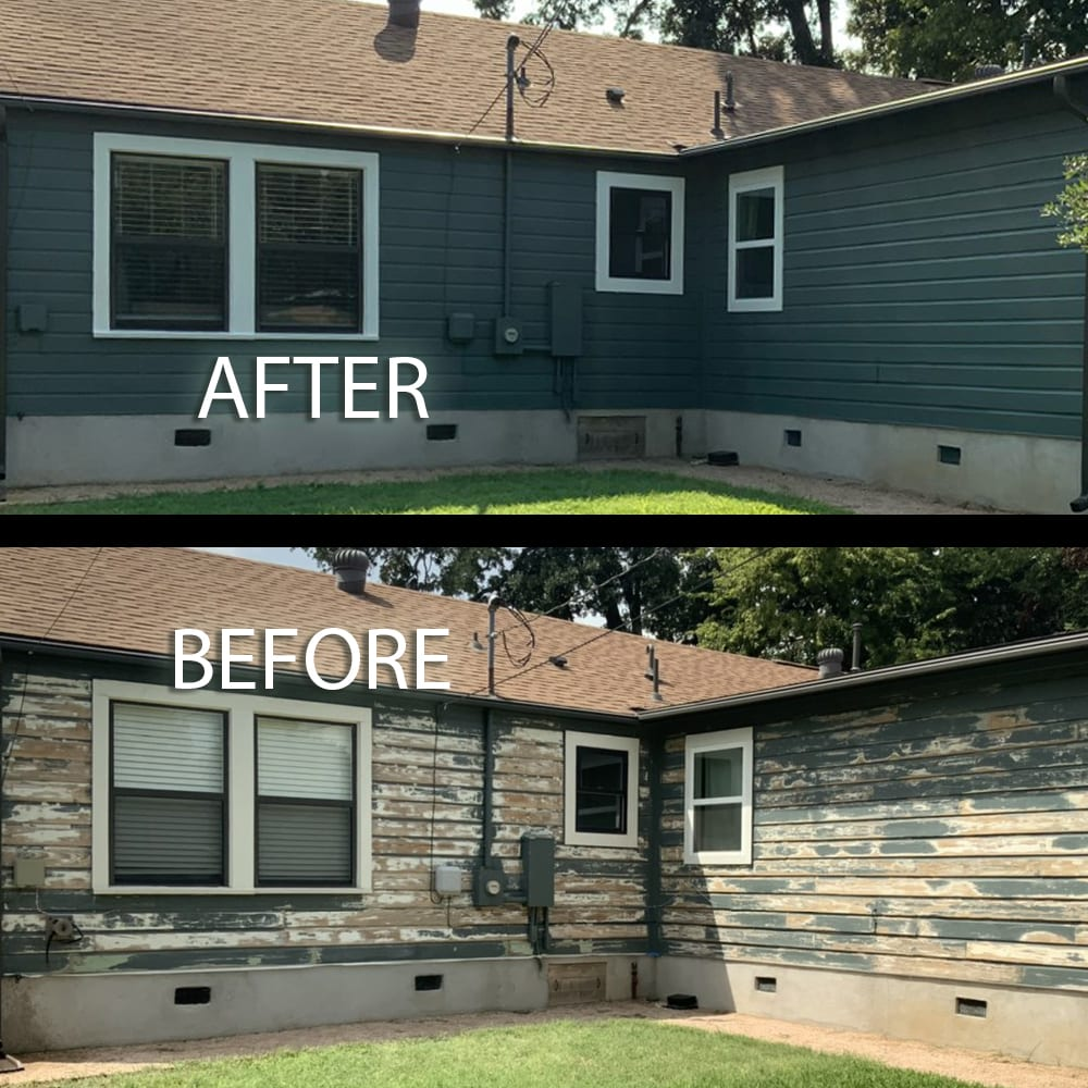 wood painted house with lead paint before and after