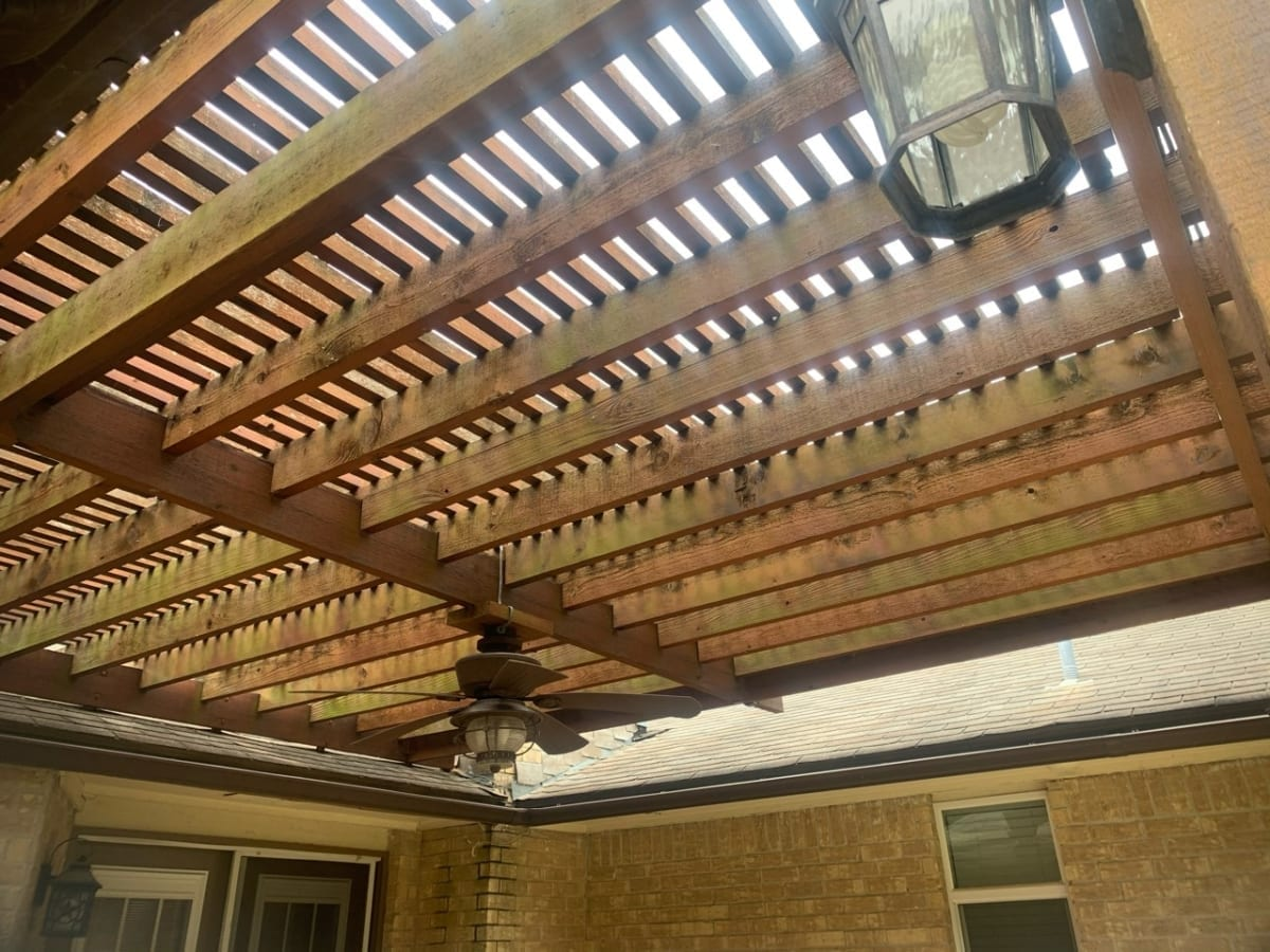 wood pergola cover before staining