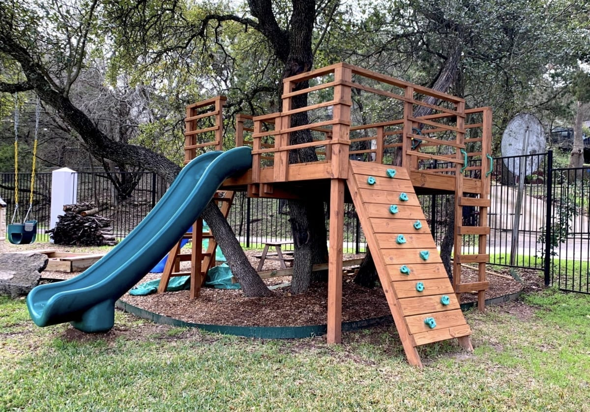 wood playscape after new coat of stain