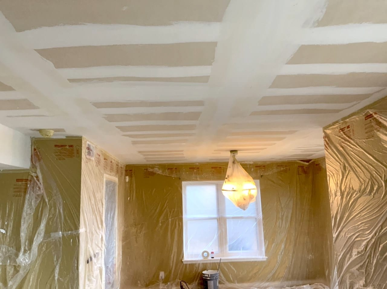 ceiling seams floated before sanding